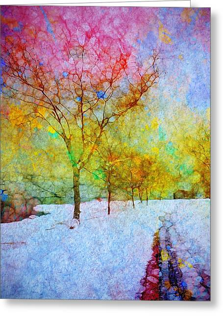 Daubs Greeting Cards - A Painted Winter Greeting Card by Tara Turner