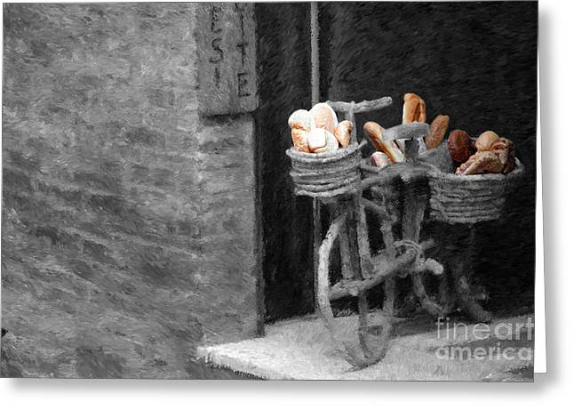 Mike Nellums Greeting Cards - A Painting Tuscan Bread Shop Greeting Card by Mike Nellums