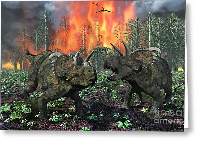 Fire In The Wood Greeting Cards - A Pair Of Albertaceratops Running Away Greeting Card by Mark Stevenson