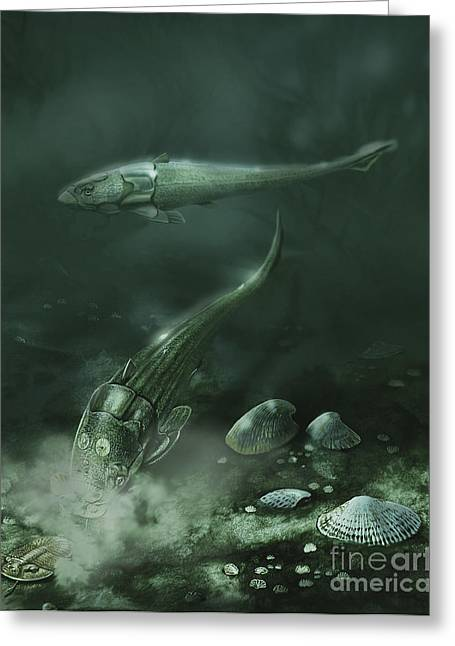 Fish Digital Art Greeting Cards - A Pair Of Armored Fish Swimming Greeting Card by Jan Sovak