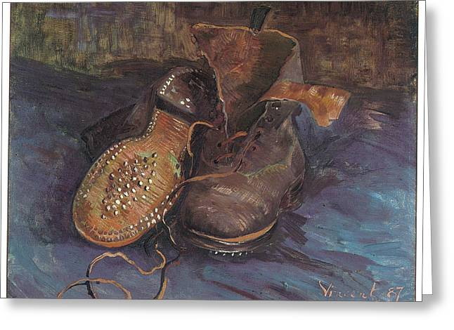 Old Boot Greeting Cards - A Pair of Boots Greeting Card by Vincent Van Gogh