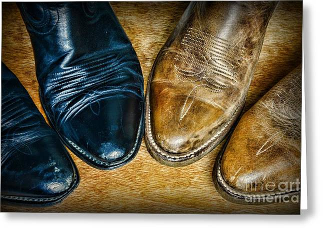 Black Boots Photographs Greeting Cards - A Pair of Cowboy Boots Greeting Card by Paul Ward