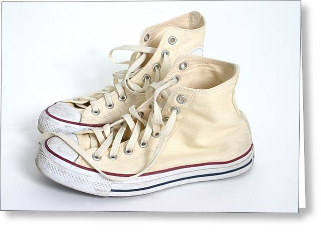 Running Shoe Greeting Cards - A Pair Of Cream Hightop Sneakers Greeting Card by Daniel Sicolo
