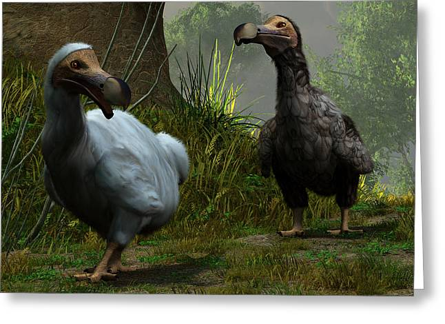 Dodo Greeting Cards - A Pair of Dodos Greeting Card by Daniel Eskridge