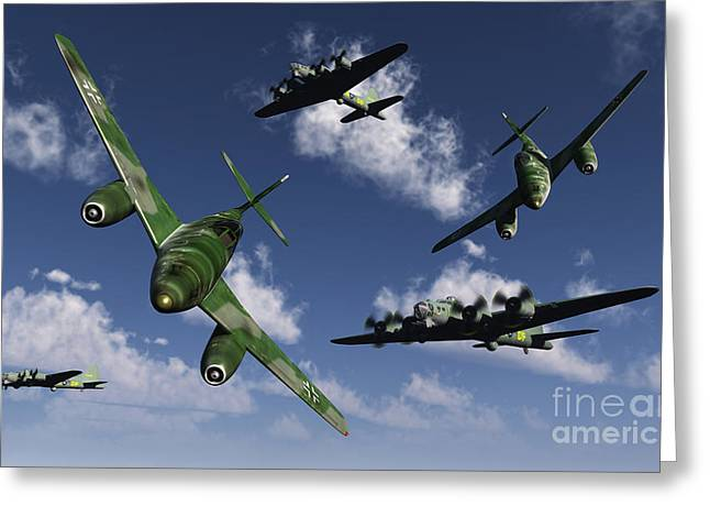 Turbojet Greeting Cards - A Pair Of German Me 262 Jetfighters Greeting Card by Mark Stevenson