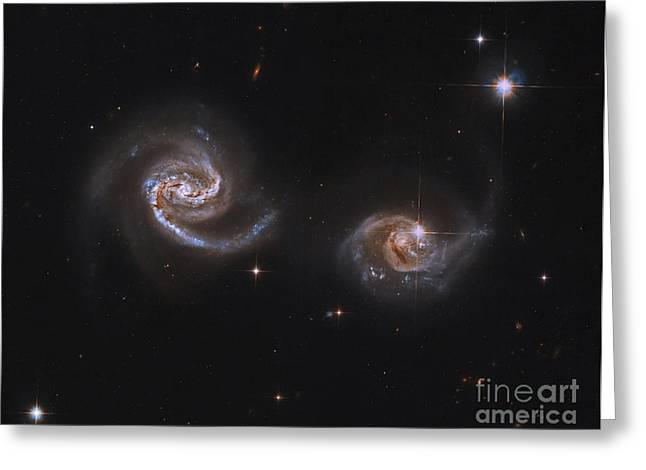 Recently Sold -  - Merging Greeting Cards - A Pair Of Interacting Spiral Galaxies Greeting Card by Roberto Colombari