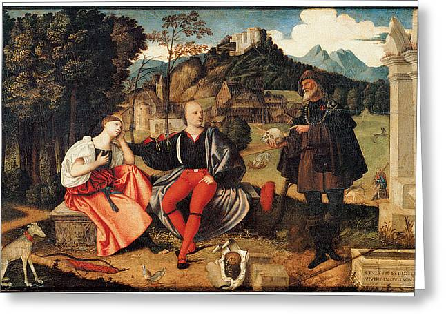 Art Of Lovers Greeting Cards - A Pair of Lovers and  Pilgrim in a Landscape Greeting Card by Domenico Di Bernardino Caprioli