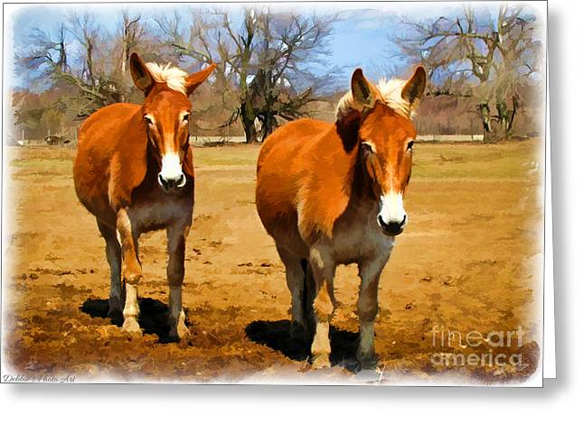 Debbie Portwood Greeting Cards - A Pair of Mules  Digital paint Greeting Card by Debbie Portwood