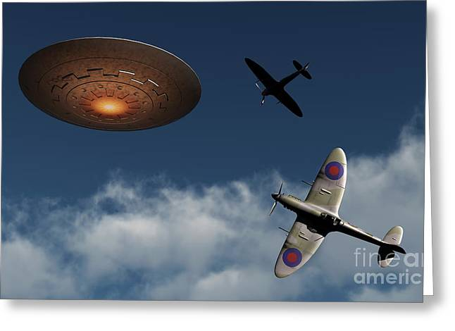 Military Airplanes Greeting Cards - A Pair Of Royal Air Force Supermarine Greeting Card by Mark Stevenson