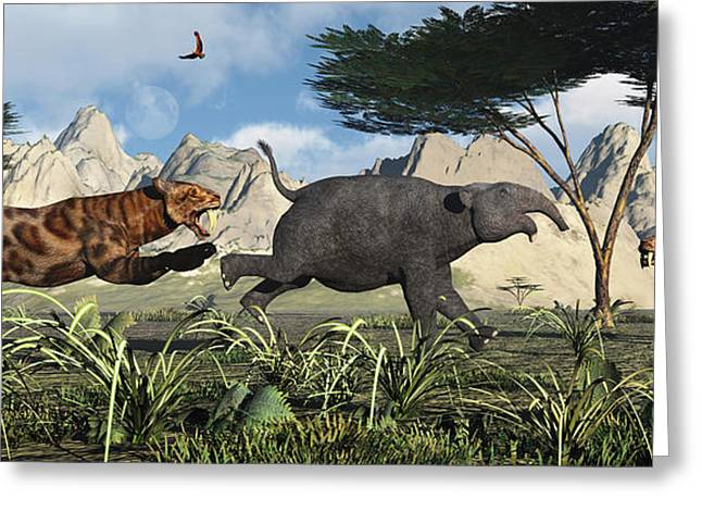 The Tiger Greeting Cards - A Pair Of Sabre-toothed Tigers Chasing Greeting Card by Mark Stevenson