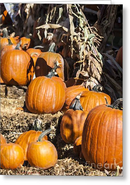 Harvest Time Greeting Cards - A Palette of Pumpkins Greeting Card by Janice Rae Pariza