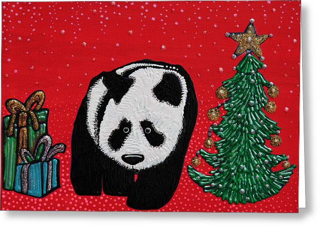 Tinsel Greeting Cards - A Panda For Christmas Greeting Card by Laura Barbosa