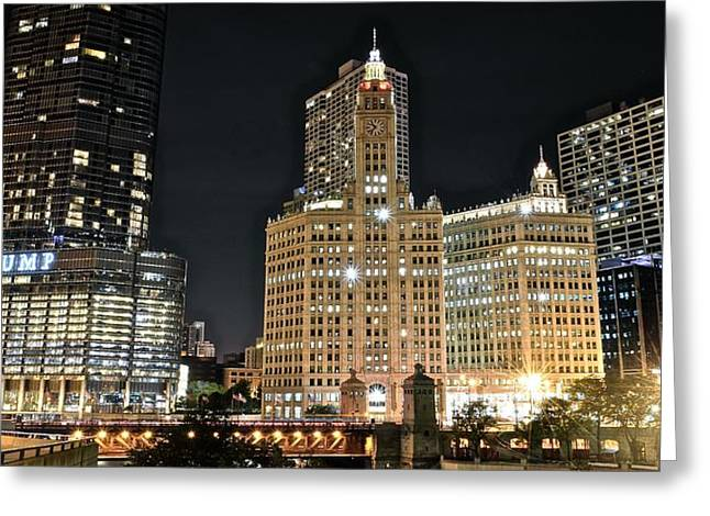 Chicago Bulls Greeting Cards - A Panoramic Night in Chicago Greeting Card by Frozen in Time Fine Art Photography