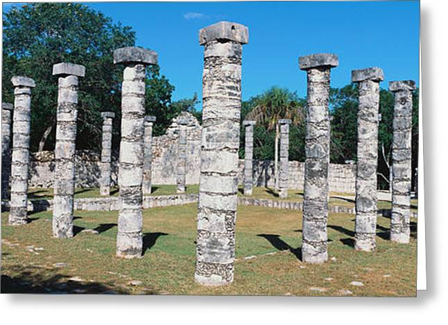 A Panoramic View Of Columns Surround Greeting Card by Panoramic Images