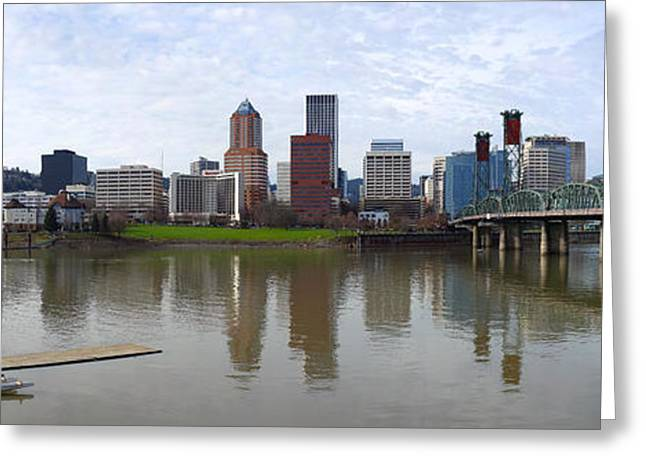 Basketballs Greeting Cards - A panoramic view of Portland Oregon. Greeting Card by Gino Rigucci