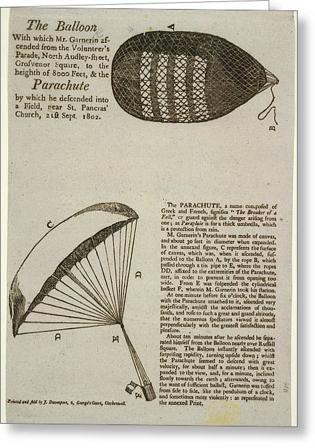 A Parachute Descent To A Field Near St Pa Greeting Card by British Library