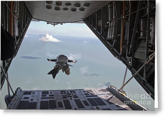 Airshow Flight Greeting Cards - A Pararescueman Free Falls Greeting Card by Stocktrek Images