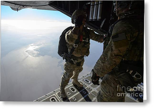 Hands To Face Greeting Cards - A Pararescueman Salutes An Officer Greeting Card by Stocktrek Images