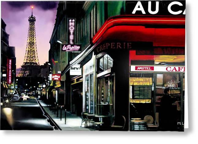 Vague Feelings Greeting Cards - A Paris Night Greeting Card by Marcos Lara