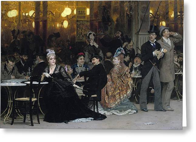 Black Widow Paintings Greeting Cards - A Parisian Cafe Greeting Card by Ilya Efimovich Repin