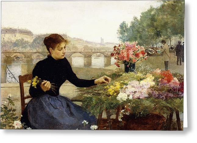 Victor Greeting Cards - A Parisian Flower Market Greeting Card by Victor Gabriel Gilbert