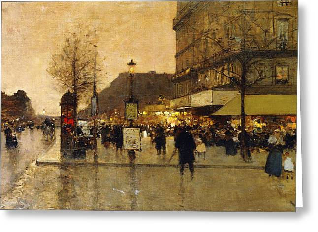 Streetlight Greeting Cards - A Parisian Street Scene Greeting Card by Eugene Galien-Laloue