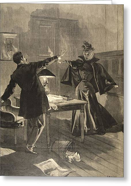 Assassination Greeting Cards - A Parisien Drama, Illustration From Le Greeting Card by French School