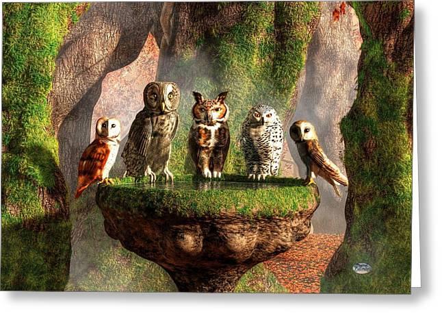 A Parliament Of Owls Greeting Card by Daniel Eskridge