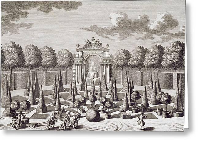 A parterre with orange trees in the garden of the Lichtenstein Palace Greeting Card by Salomon Kleiner