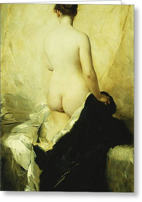 Back View Greeting Cards - A Partially Draped Nude Greeting Card by Charles Chaplin