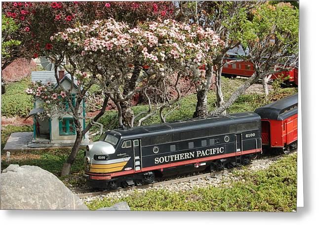 Recently Sold -  - Garden Scene Greeting Cards - A Passenger Train Passes by Farm House Greeting Card by Linda Brody