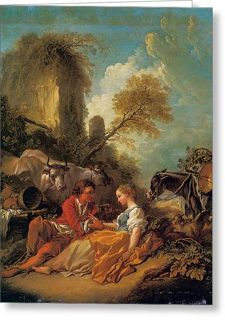 Francois Boucher Greeting Cards - A Pastoral Landscape with a Shepherd and Shepherdess Greeting Card by Francois Boucher