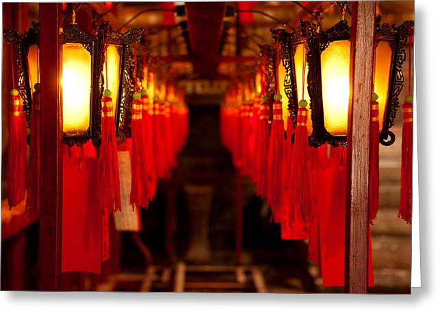 Taoism Greeting Cards - A Path of Light and Prayers Greeting Card by Loriental Photography