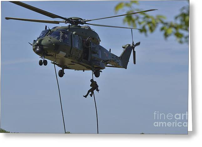 Fast Rope Greeting Cards - A Pathfinder Of The Belgian Army Greeting Card by Luc De Jaeger