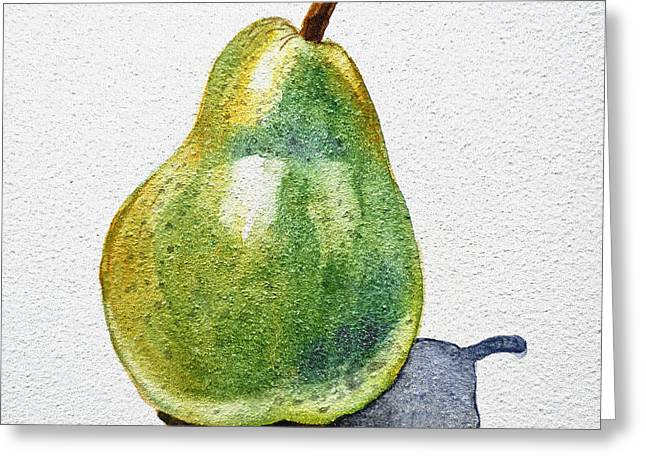 Groceries Greeting Cards - A Pear Greeting Card by Irina Sztukowski