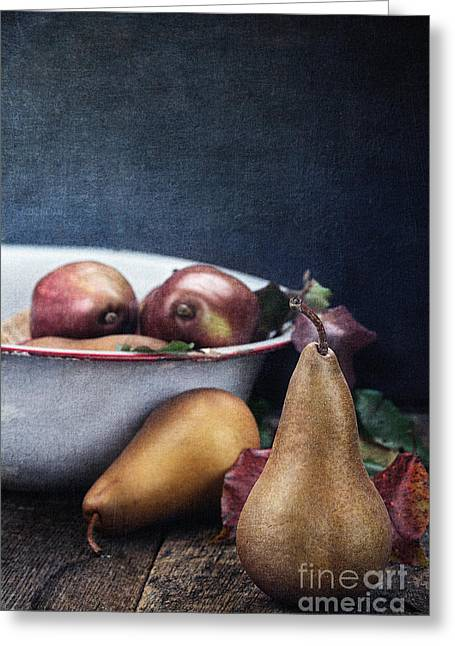 Wooden Bowl Greeting Cards - A Pear Sill Life Greeting Card by Stephanie Frey