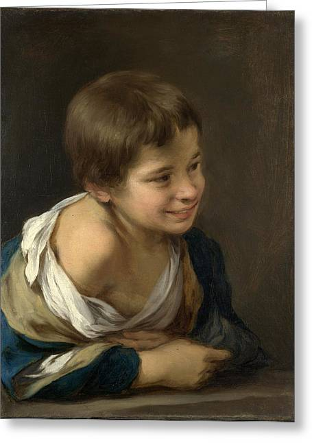 Bartolome Esteban Murillo Greeting Cards - A Peasant Boy leaning on a Sill Greeting Card by Bartolome Esteban Murillo