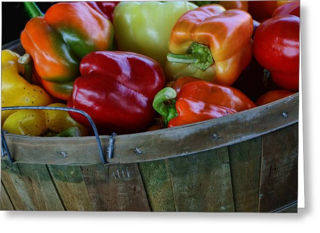Fresh Produce Greeting Cards - A Peck of Peppers Greeting Card by Nikolyn McDonald