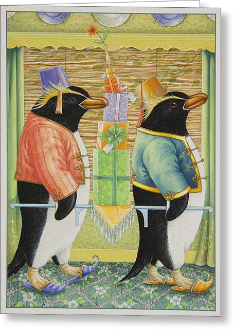 Birthday Present Greeting Cards - A Penguin Birthday Surprise Greeting Card by Lynn Bywaters