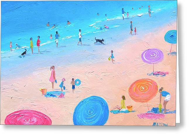 Dog Beach Print Greeting Cards - A perfect beach day Greeting Card by Jan Matson