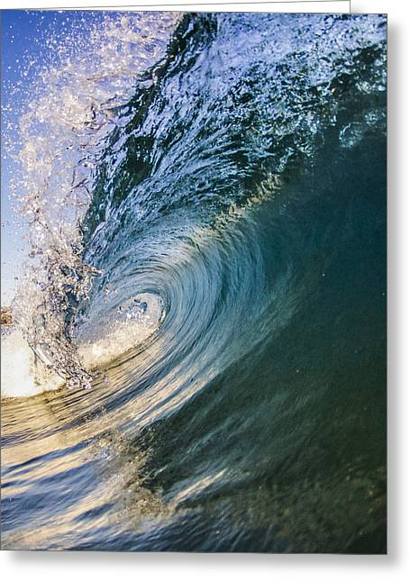 Surfing Photos Greeting Cards - A Perfect Blue Barrel Greeting Card by Kyle Morris