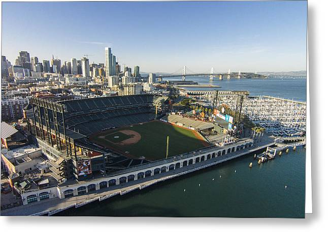 Sf Giants Greeting Cards - A Perfect Day on the Bay Greeting Card by David Levy