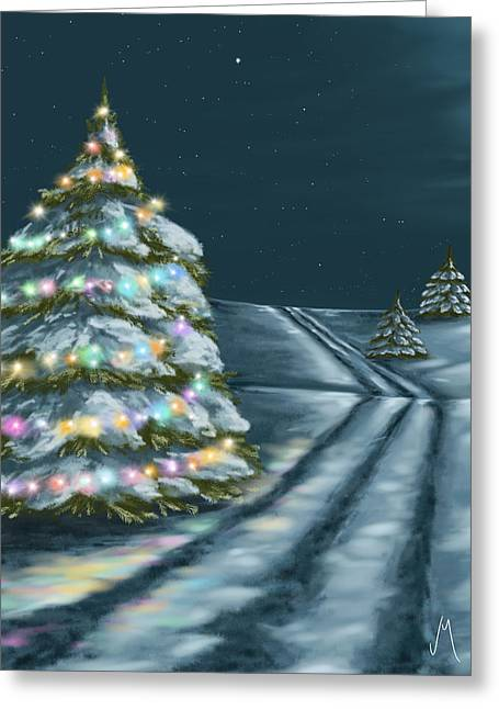 Winter Trees Greeting Cards - A perfect night Greeting Card by Veronica Minozzi