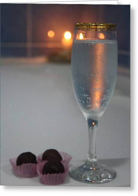 A Perfect Romance. Jacuzzi Wine And Chocolates Greeting Card by Tracey Harrington-Simpson