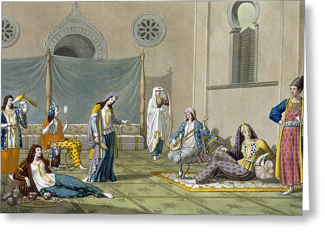 Playing Musical Instruments Greeting Cards - A Persian Harem, From Le Costume Ancien Greeting Card by G. Bramati