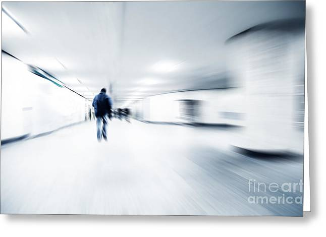 Individualistic Greeting Cards - A person lost in the rush Greeting Card by Michal Bednarek
