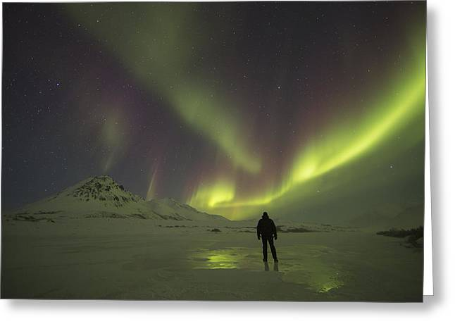 Blackstone River Greeting Cards - A Person Stands On The Frozen Greeting Card by Robert Postma