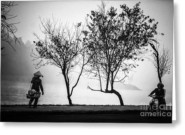 Dalat Greeting Cards - A Person Walk Into The Misty Foggy Forest Road Greeting Card by Duy Black