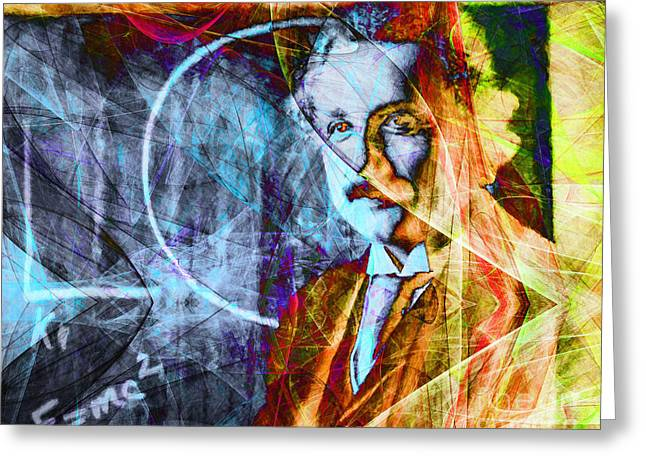 Science Greeting Cards - A Person Who Never Made A Mistake Never Tried Anything New - Einstein in Abstract 20140908 hrzntl Greeting Card by Wingsdomain Art and Photography