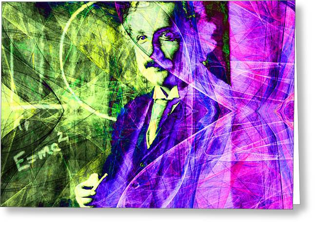 Quantum Mechanics Greeting Cards - A Person Who Never Made A Mistake Never Tried Anything New - Einstein in Abstract 20140908 square v2 Greeting Card by Wingsdomain Art and Photography